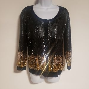 Size L Bloomingdales Button Sequin Cardigan